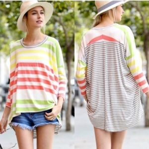 ♥️LAST♥️ Citrus Striped Oversized Loose Spring Tee
